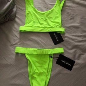 Neon green high waisted bikini